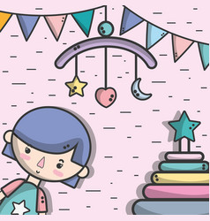 Girl with skydream and flags party decoration vector