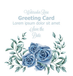 greeting card with blue roses watercolor vector image