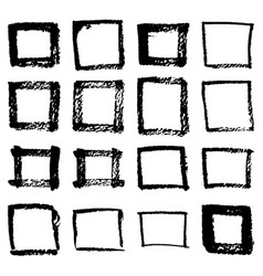 grunge hand drawn of a square frame isolated on vector image