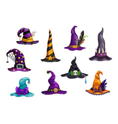 halloween witch magician and wizard hats or caps vector image