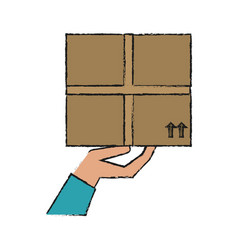 hand holding box shipping delivey icon image vector image