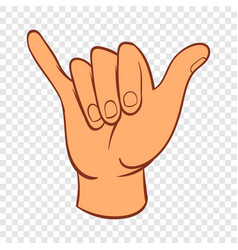 Hang loose hand gesture icon cartoon style vector