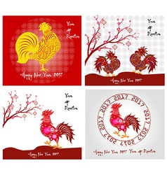 Happy New Year 2017 year of rooster collection vector