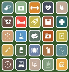 Health flat icons on green background vector