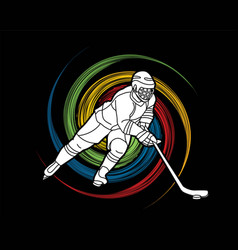 Ice hockey player action graphic vector