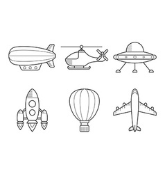 Icon set aero vehicles helicopter plane ufo vector