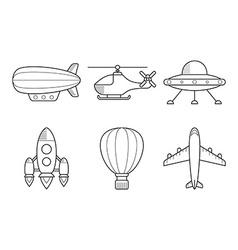 Icon set of aero vehicles Helicopter plane UFO vector