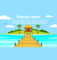 island tropical resort concept banner flat style vector image