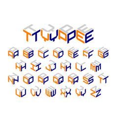 Isometric 3d type three-dimensional alphabet vector