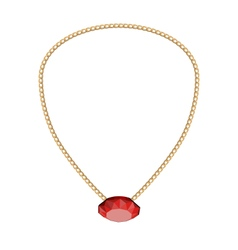 Jewelry golden chain with red diamand vector
