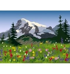 Landscape summer alpine medow poster vector