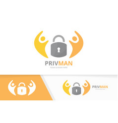 lock and people logo combination safe and vector image