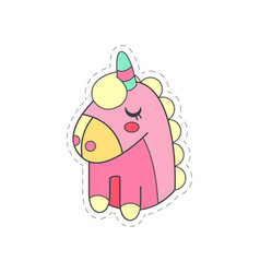 Lovely funny pink unicorn cloth patch applique vector
