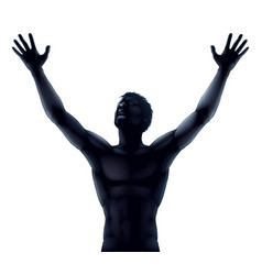 Man silhouette hands raised vector
