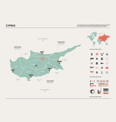 Map cyprus high detailed country map with vector