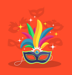 Mask with multicolor feather on red vector