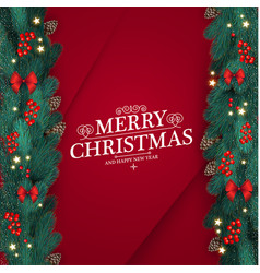merry christmas design template with realistic fir vector image