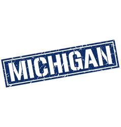 michigan blue square stamp vector image