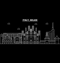 milan city silhouette skyline italy - milan city vector image