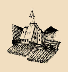 Old vineyard landscape vector
