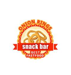 Onion rings fast food cafe bistro icon vector