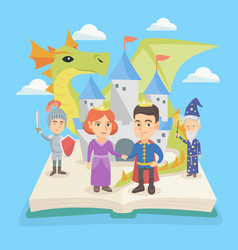 Open book with castle and characters of fairytale vector