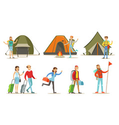 people going on summer vacation set backpackers vector image