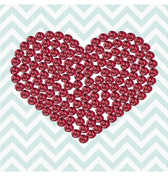 Pink heart made of roses on a blue vector image