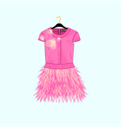 pink party dress with feather decor vector image