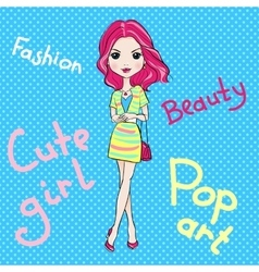 Pop Art cute fashion girl vector image