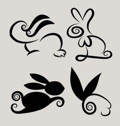 Rabbit symbols 2 vector image