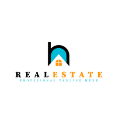 real estate initial letter h logo design template vector image