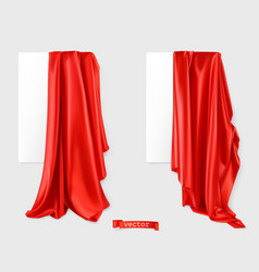 Red curtain image drapery fabric 3d realistic vector