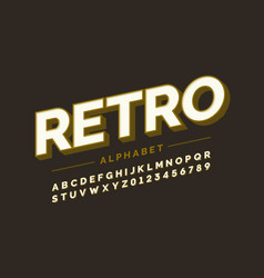 Retro style font design alphabet letters and vector