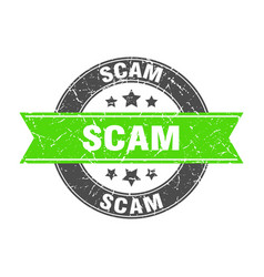 Scam round stamp with green ribbon scam vector