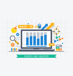 search and analysis vector image