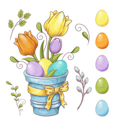 set easter design elements eggs tulips vector image