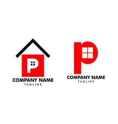 set home initial letter p logo design vector image
