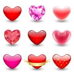 Set of geometric icons hearts vector image