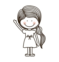 Silhouette girl with raised hand vector