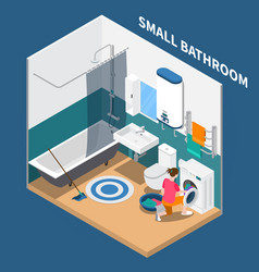 Small bath room isometric composition vector