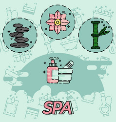 spa flat concept icons vector image vector image