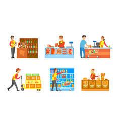 Supermarket departments winery and bakery vector