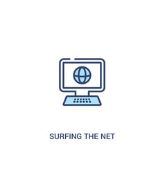 Surfing net concept 2 colored icon simple vector