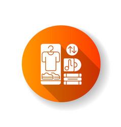 Swap meet orange flat design long shadow glyph vector
