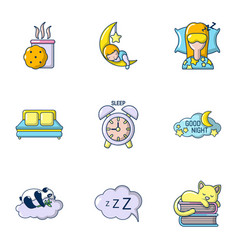 sweet dream icons set cartoon style vector image
