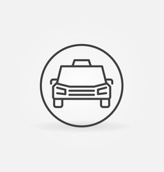 taxi car in circle concept icon in outline vector image