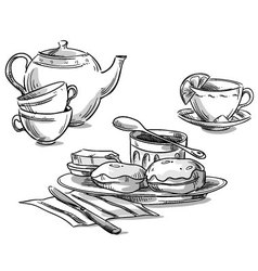 Tea and scones vector