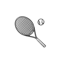 tennis racket hand drawn outline doodle icon vector image