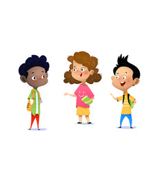 three children are discussing a school assignment vector image